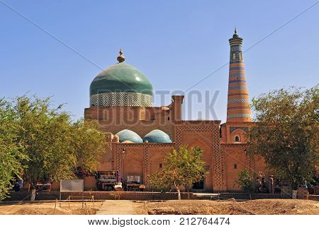 Khiva: view of the dome and minaret