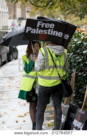4th November 2017 London United Kingdom:-Pro Palestine demonstrators march through London against the Balfour declaration of 1917 and the on going Israeli occupation