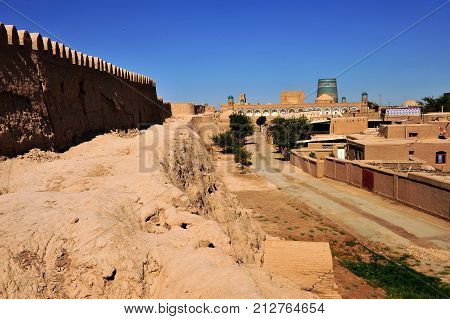 Khiva: medieval wall and old town Uzbekistan