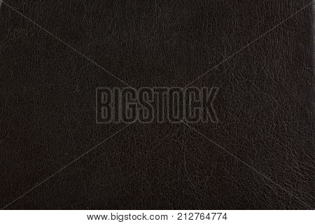 Black leather texture background. Cow dark leather surface