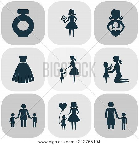 Mothers Day Icon Design Concept. Set Of 9 Such Elements As People, Fragrance And Child