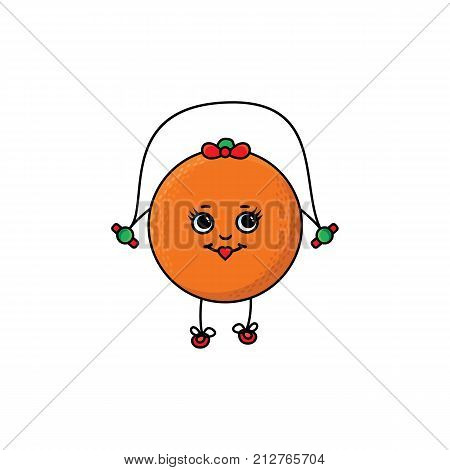 vector flat sketch fresh ripe orange female character with eyes, hands and legs jumping on skipping rope. Isolated illustration white background. Healthy vegetarian eating, dieting and sport lifestyle