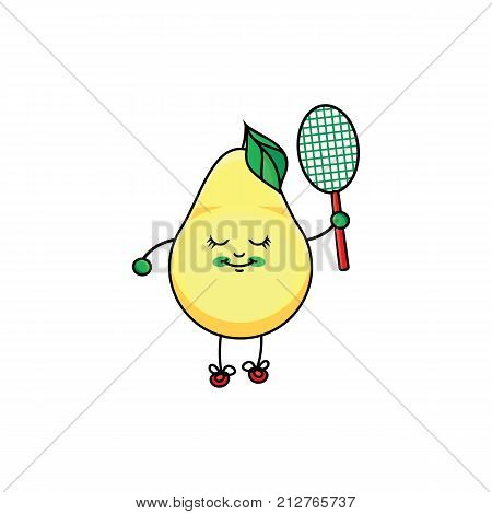 vector flat sketch yellow fresh ripe pear character with eyes, hands and legs playing badminton. Isolated illustration on a white background. Healthy vegetarian eating, dieting and sport lifestyle