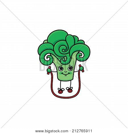 vector flat sketch green fresh broccoli brussels sprout character with eyes, hands and legs jumping on skipping rope. Isolated illustration white background. Healthy eating dieting and sport lifestyle