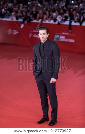 ROME ITALY - OCTOBER 28: Jake Gyllenhaal walks a red carpet for 'Stronger' during the 12th Rome Film Fest at Auditorium Parco Della Musica on October 28 2017 in Rome Italy.