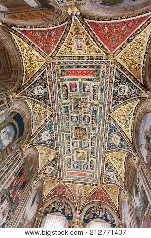 Siena Italy - April 04 2017: Ceiling of Piccolomini Library in Siena Cathedral (Duomo di Siena)