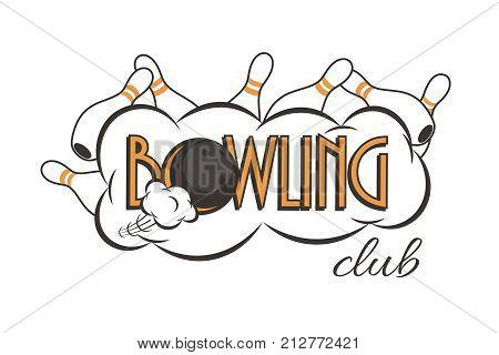 Vector bowling club logo. Bowling strike with Bowling club text