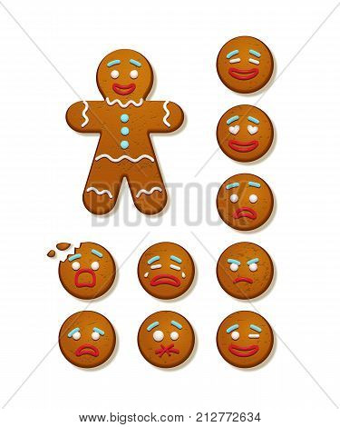 Gingerbread man and set of gingerbread man faces. Vector Christmas and New Year holiday elements