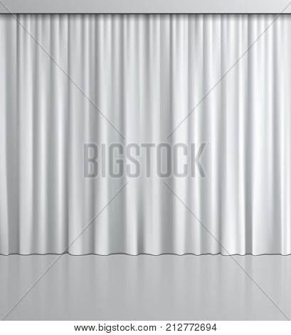 White curtain background. Vector realistic white curtain with mirror reflection
