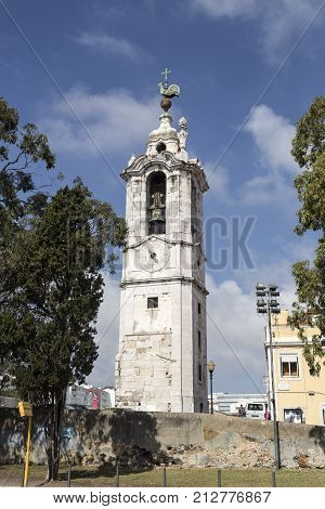 LISBON, PORTUGAL - October 12, 2017: Isolated in front of the Ajuda Palace is the clock-tower also called the Tower of the Rooster in Lisbon Portugal