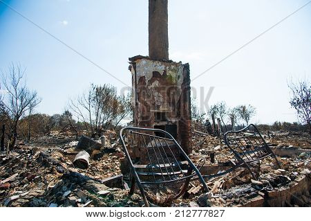 Ruins Of House After Fire
