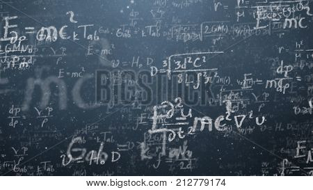 Background shot of blackboard with scientific and algebraic formulas and graphs written on it in graphics. Business concept - sketch with schemes and graphs on chalkboard.