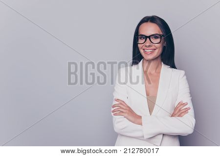 Close Up Portrait Of Caucasian Gorgeous Stunning Charming Lovely Cute Expert Business Lady, Standing