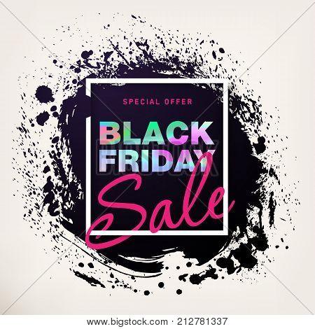 Black Friday Sale Poster with holographic effect. Modern concept for cover design. Sale Discount banner. Template advertising poster design for flyer, presentation, cover design. Vector illustration