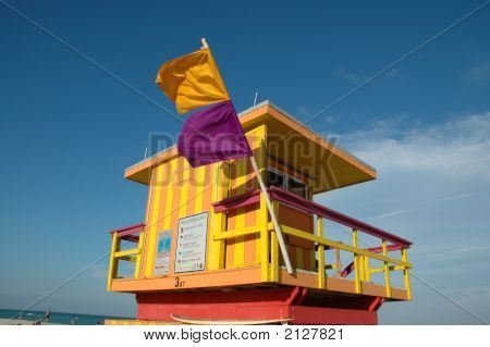 View Of Orange And Purple Lifeguard Tower And Beach In Miami South Beach