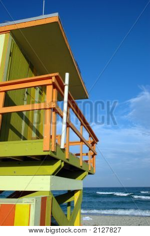 Alternate View Of Lifeguard Tower And Beach