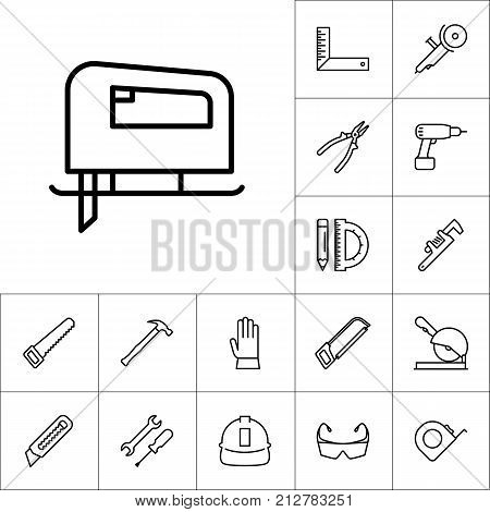 Line Jig Saw Icon On White Background, Construction Set