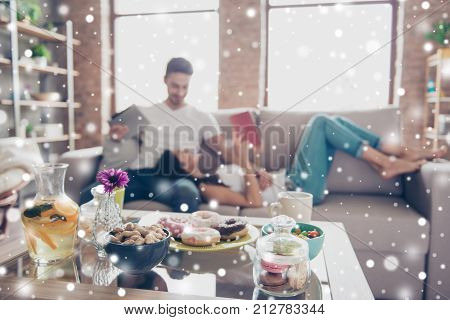 Sweet Life And Sweet Couple In Love. Food Is In A Focus On The Background Of Happy Beautiful Couple,