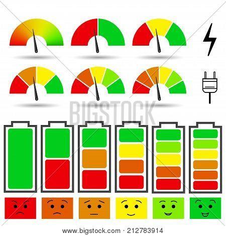 Set of battery charge level indicators arrow indicators and emotional indicators. Isolated on white background