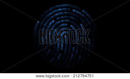 Colorful fingerprint. Animation of appearance and disappearance of fingerprint with sparks on black background. Glowing Colorful Tracing Fingerprint Loop with Matte 4K