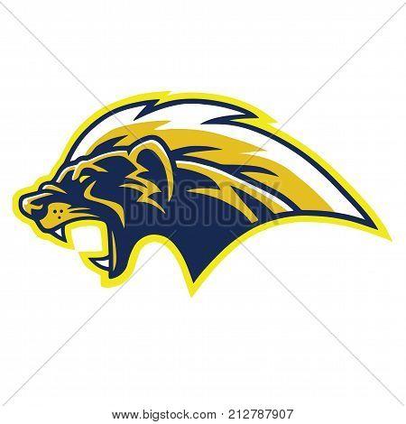 Honey Badger Logo Vector Blue Yellow Design