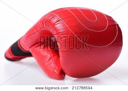Boxing Gloves In Red Color Isolated On White Background