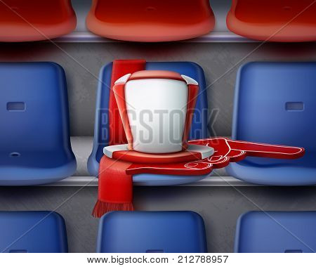 Vector illustration of row blue and red plastic chairs on the grandstand with attributes of fan