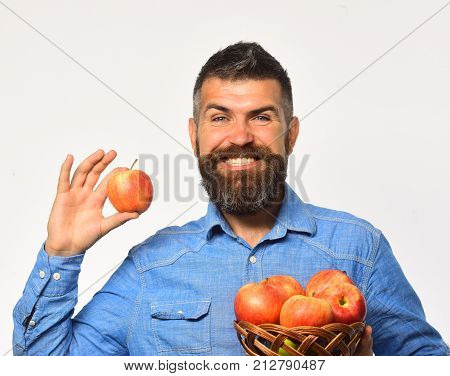 Farming And Autumn Crops Concept. Man With Beard