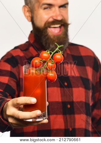 Farmer With Happy Face Shows Cherry Tomatoes In Fresh Juice.