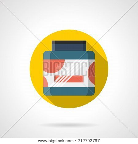 Symbol of colorful jar of whey protein. Nutritional supplements for sport and fitness. Round flat design vector icon.