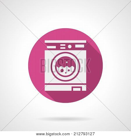 Abstract white silhouette symbol of automatic washing machine. Cleaning and laundry services, household appliances. Round pink flat vector icons.