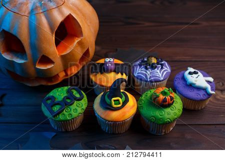 Tasty Halloween Cupcakes Set With Colorful Decorations: Pumpkin, Ghost, Spider, The Word Boo, Bat An