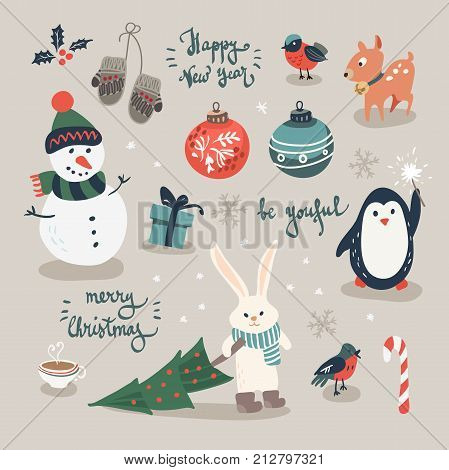 Christmas cards with cute trees, mittens, snowflakes and christmas toys, penguin in winter cap, christmas crackers and forest animals in cartoon style