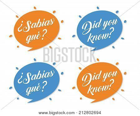 did you know?/ sabias que? English spanish phrase