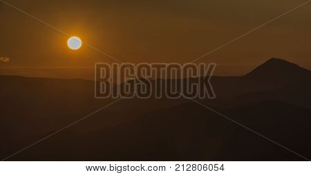 Sunset Autumn Evening On Varhost Hill In Ceske Stredohori Mountains