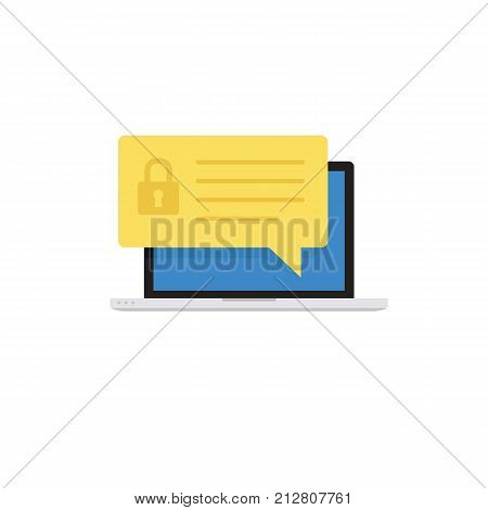 Laptop With Security Notification. Security Protection Concept. Flat Design of Notebook with Padlock Icon Notification