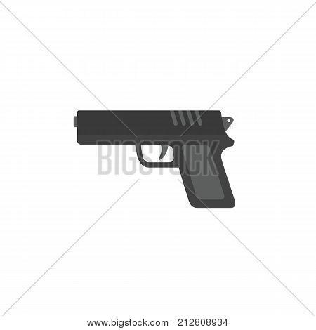 Flat design of gun, handgun, pistol, revolver illustration, military weapon concept