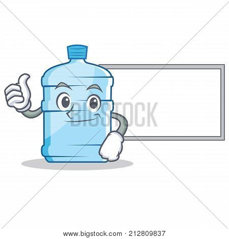 Thumbs up with board gallon character cartoon style vector illustration