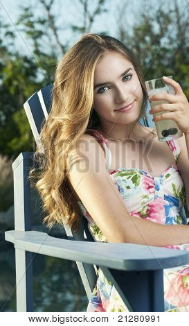 Beautiful Young Woman by Pool