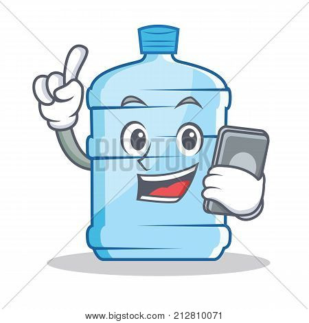 With phone gallon character cartoon style vector illustration