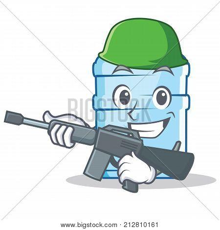 Army gallon character cartoon style vector illustration