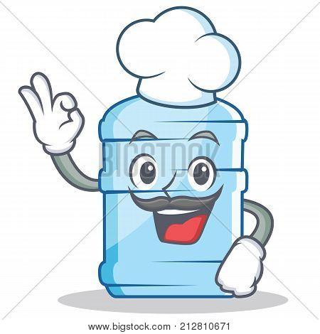 Chef gallon character cartoon style vector illustration