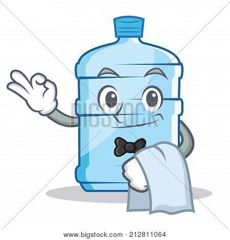 Waiter gallon character cartoon style vector illustration