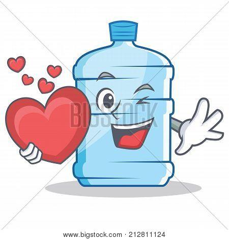 With heart gallon character cartoon style vector illustration