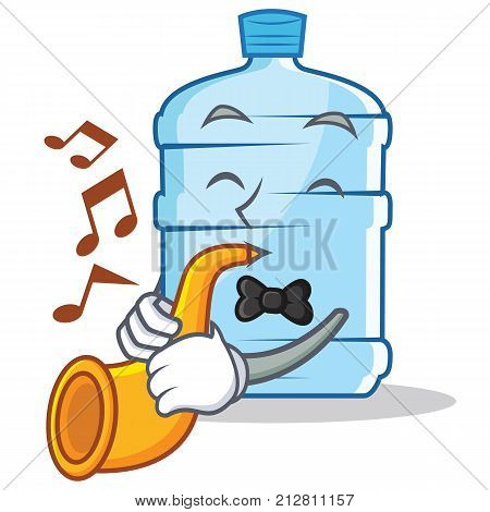 With trumpet gallon character cartoon style vector illustration
