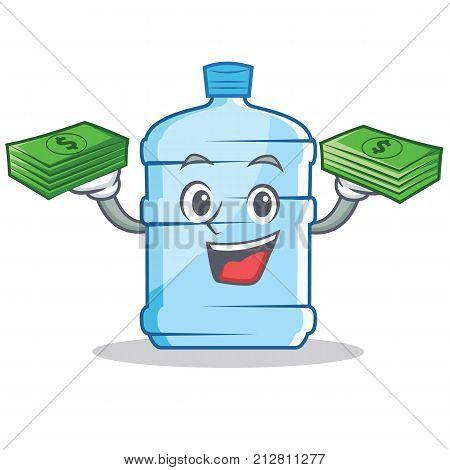 With money gallon character cartoon style vector illustration