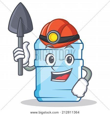 Miner gallon character cartoon style vector illustration