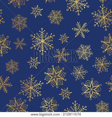 Vector golden and nay blue snowflakes seamless repeat pattern background. Great for winter holiday fabric, giftwrap, packaging, covers, invitations. Surface pattern design.