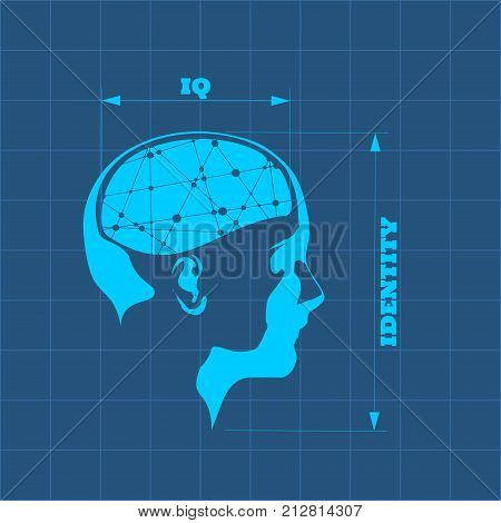 Silhouette of a woman's head. IQ and identity measuring. Scientific medical designs. Connected lines with dots as symbol of brains.