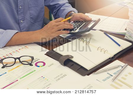 Business And Finance Concept Of Office Working, Businessman Discussing Monthly Sales Forecast Analys